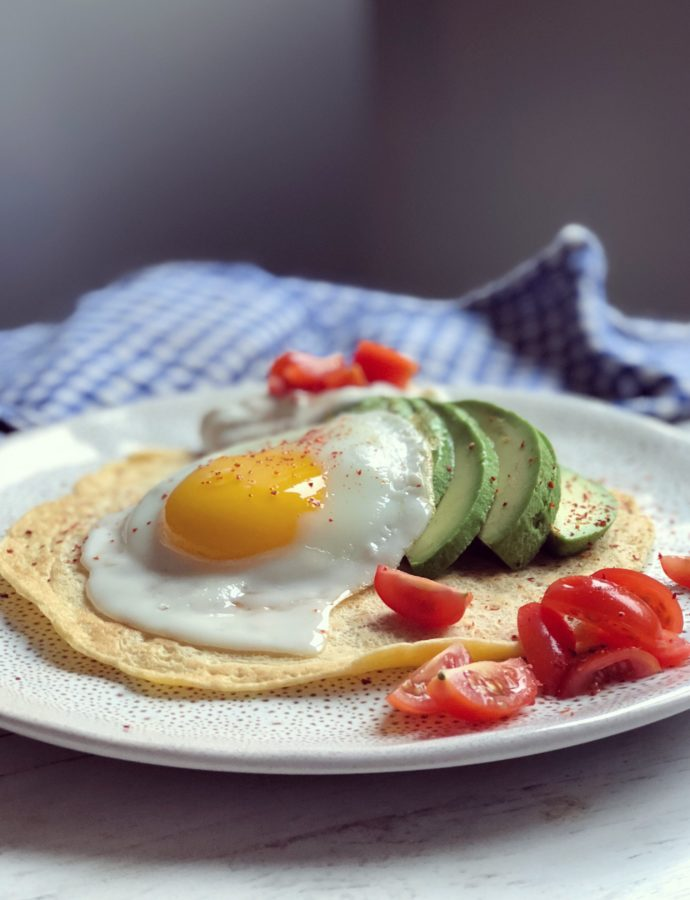 """""""Sunny side up"""" (pancake with avocado and egg)"""